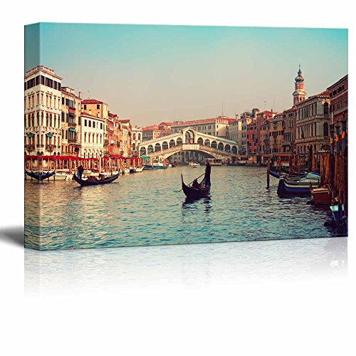 wall26 - Canvas Prints Wall Art - Rialto Bridge and Gondolas in Venice. | Modern Wall Decor/Home Decoration Stretched Gallery Canvas Wrap Giclee Print. Ready to Hang - 24