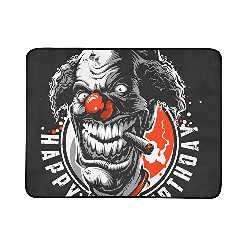 Evil Scary Clown Monster Pattern Portable and Foldable Blanket Mat 60x78 Inch Handy Mat for Camping Picnic Beach Indoor Outdoor Travel]()