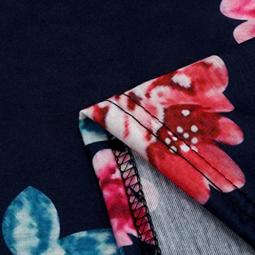 Camisas Camisetas Azul Corta Shobdw Ocasional La Para Mujeres Suelto Verano De Talla Blusa Atractiva Oscuro Hombro Manga Impreso Floral Grande 5xl Playa 8qxABwq