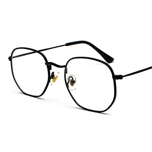 da9b390ef0 Metal Gold Eyeglasses Men Square Clear Lens Small Glasses Frame Female  Unisex (black with clear