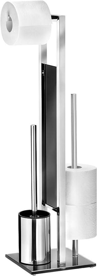 Gl/änzend Standgarnitur Edelstahl rostfrei Stand WC-Garnitur WC Toilettenpapierhalter und WC-B/ürstenhalter