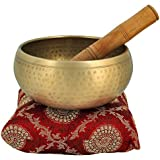 5 Inches Bell Metal Tibetan Buddhist Singing Bowl Musical Instrument for Meditation with Stick and Cushion - Superior Quality
