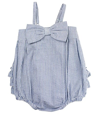 RuffleButts Infant/Toddler Girls Bow-Front Bubble Romper One Piece w/Ruffles - Blue Seersucker - (Blue Seersucker)