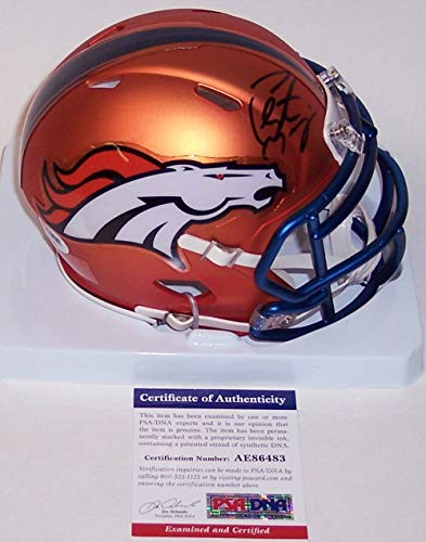 Peyton Manning Hand Signed - Peyton Manning Autographed Hand Signed Denver Broncos BLAZE Speed Mini Football Helmet - PSA/DNA