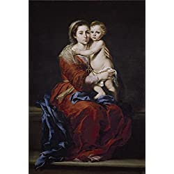 The High Quality Polyster Canvas Of Oil Painting 'Murillo Bartolome Esteban La Virgen Del Rosario 1650 55 ' ,size: 8 X 12 Inch / 20 X 30 Cm ,this Vivid Art Decorative Prints On Canvas Is Fit For Bathroom Artwork And Home Gallery Art And Gifts