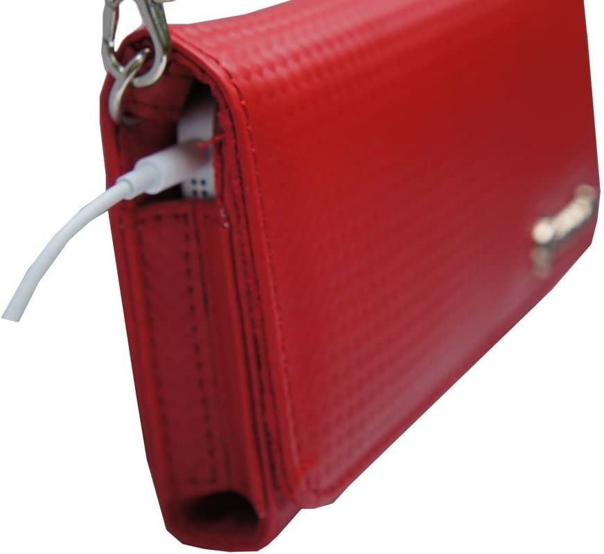 Women Designer Red Stylish Handbag Carrying Case Purse Sized for Olympus Devices with Shoulder//Hand