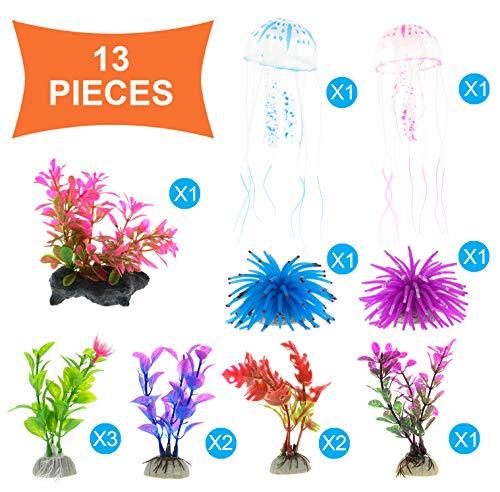 GreenJoy 13 Pcs Aquarium Decorations Decor Coral Jellyfish Ornament Anemones Artificial Aquatic Plants Plastic Plant Set