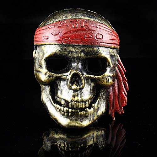 NOMSOCR Halloween Mask, Horror Mask Scary Devil Face Prank Pirate Skull Plastic Mask for Adults Kids (Gold) ()