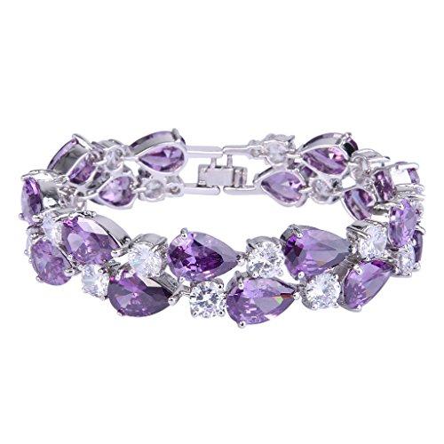 EVER FAITH Women's Prong Cubic Zirconia Vintage Style Dual Layer Tear Drop Bracelet Purple Silver-Tone