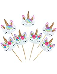 48-pack Rainbow Unicorn Cupcake Toppers Picks, Double Sided Unicorn Cake Toppers for Birthday Baby Shower Party Decorations Supplies.
