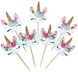 #3: 48-pack Rainbow Unicorn Cupcake Toppers Picks, Double Sided Unicorn Cake Toppers for Birthday Baby Shower Party Decorations Supplies.