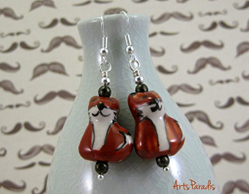 Small Red Grinning Ceramic Fox with Black Czech Glass Dangle Earrings by ArtsParadis (Glass Czech Small)