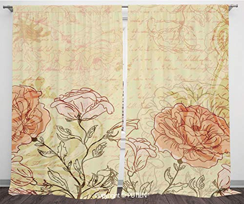 Satin Window Drapes Curtains [ Vintage,Double Exposure Background Roses and Lettering Love Words Once Upon A Time Theme,Cream Pink ] Window Curtain Window Drapes for Living Room Bedroom Dorm Room Clas -