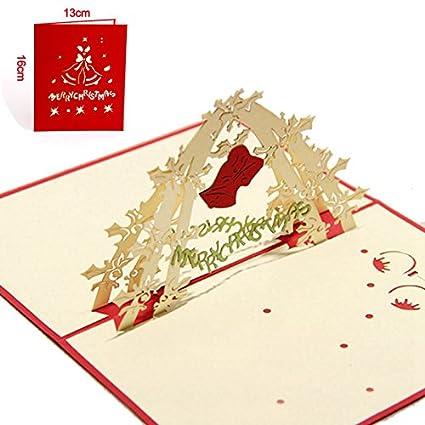 Amazon christmas greeting card red christmas bell 3d laser christmas greeting card red christmas bell 3d laser cut pop up paper handmade postcards custom m4hsunfo