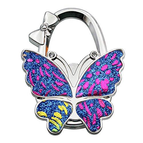 Butterfly Handbag Hanger - Grtdrm Colorful Butterfly Style Premium Foldable Handbag Bag Purse Hanger Table Hook Holder (Blue Colorful)