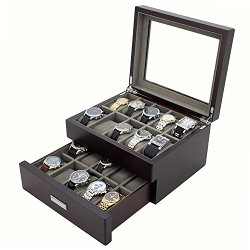 Watch Box Wood Grain XL Large Compartments High Clearance Glass Window (Espresso Brown, 20 Watch - High Tech Glasses