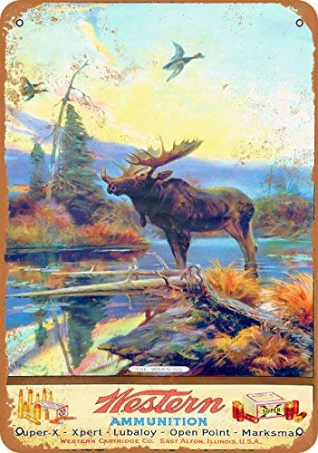 ACOVE Western Ammunition and Moose Vintage Look Metal Tin Sign - 10x14 -