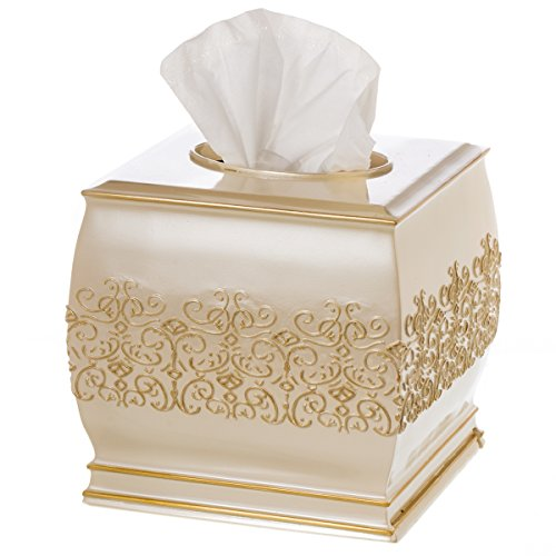 "Creative Scents Shannon Tissue Box Cover Square - (6"" x 6"" x 5.75"") – Decorative Bath Tissues Napkin Holder with Durable Bottom Slider- for Cute Elegant Bathroom Decor"