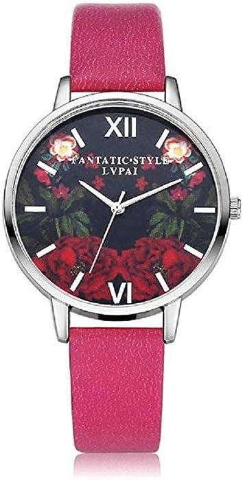 Scpink Mujeres Relojes de Cuarzo, patrón de Flores de liquidación Relojes de señoras analógicas Relojes Femeninos Relojes de Cuero