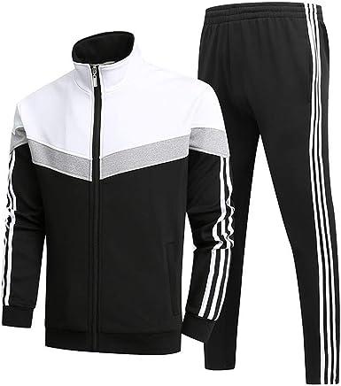 Wan-T Mens Solid Sport Zipper Jacket 2 Pieces Gym Pants Tracksuit Outfit Set