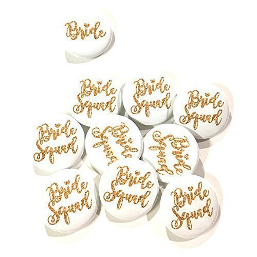 10 oder 12 Pcs Bride Squad Heart Badge Pin Wedding Shower Bachelorette Party Favors Gift Gold Glitter Diameter 1.5""