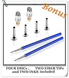 MEKO 3-in-1 Precision Series Disc Stylus Pen, 6-Inch (2 Piece) with 4 Pieces Disc, 2 Pieces Fiber Tip and 2 Pieces Refill Ink - Black/Silver