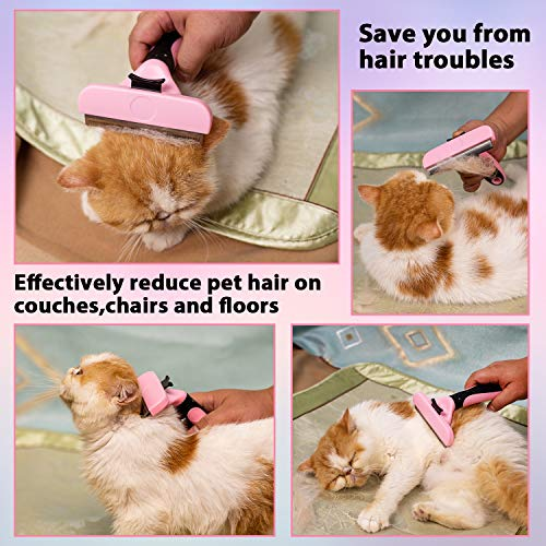 Hesiry Pet Dogs & Cats Grooming Brush for De-Shedding with Self Cleaning, Remove Pets Matted Short and Long Hair