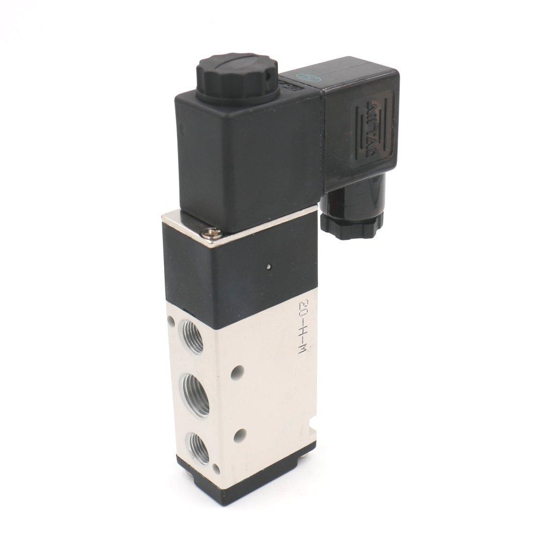 Woljay Pneumatikventil Pneumatische Magnetventil PT 1/4 Luftventil 4V210-08 DC 24V 5-Wege 2 Position Ständer Schnell Fittings Muffler Set Sanitär