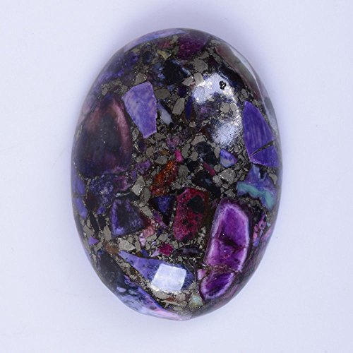 30x22mm Oval Cabochon CAB Flatback Semi-precious Gemstone Ring Face (Purple Sea Sediment Jasper & - Purple Jasper