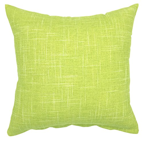 YOUR SMILE Pure Green Square Decorative Throw Pillows Case Cushion Covers Shell Cotton Linen Blend 18 X 18 Inches