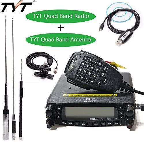 TYT TH-9800 Plus 50W 809CH Quad Band Dual Display Repeater Car Mobile Radio Original Quad Band Antenna TYT Programming Cable RB400 Car Clip Edge with Teflon 5M Cable