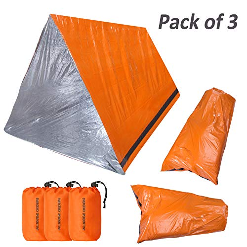 KOMEX Emergency Sleeping Bag with Shelter Survival Tent 2-4 Person Mylar Emergency Tube Tent Lightweight Waterproof Thermal Emergency Blanket for Camping Hiking