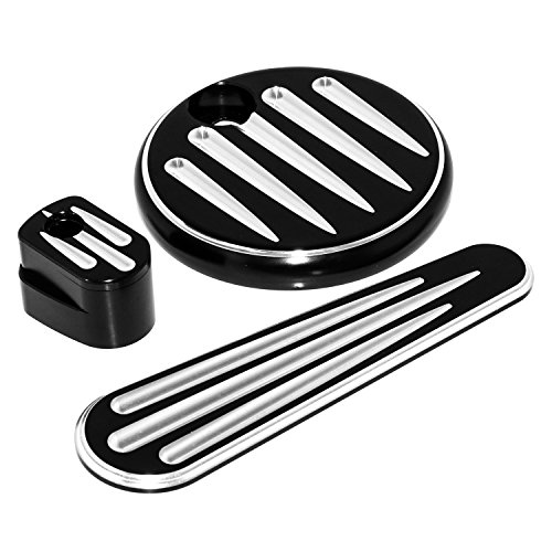 - Black Fuel Tank Door Dash Track Insert Ignition Cap Kit For Harley Touring Electra Street Road Glide 2014-2017