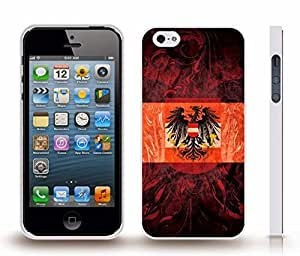 iStar Cases? iPhone 4 Case with Austria Flag with Austrian Coat of Arms Background Design , Snap-on Cover, Hard Carrying Case (White)