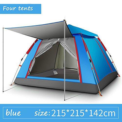 テント屋外テント3-4屋外キャンプ用品ダブル雨高密度B5メッシュキャンプテント  青 B07B3RNTS4