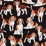 Schwarzer süßer Beagle Hund Tier Stoff von Timeless Treasures