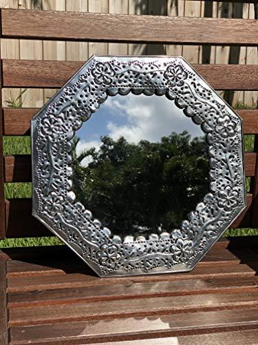 Flower Tin Mirror - Handmade Octagonal Mexican mirror, 12