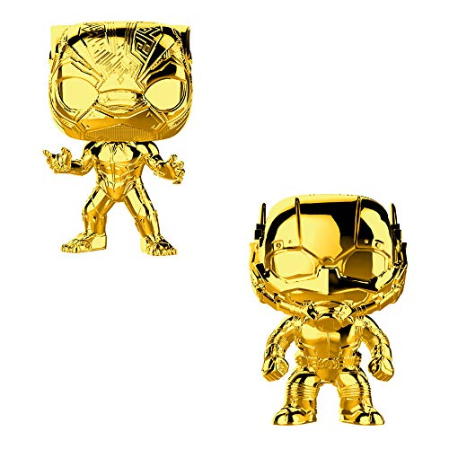 (Funko POP! Marvel Studios The First Ten Years: Gold Chrome Black Panther and Gold Chrome Ant-Man Bobblehead Toy Action Figure - 2 POP Bundle)