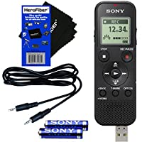 Sony ICD-PX370 Mono Digital Voice Recorder with Built-in USB and 4GB + Auxiliary Cable + AAA Batteries + HeroFiber Ultra Gentle Cleaning Cloth