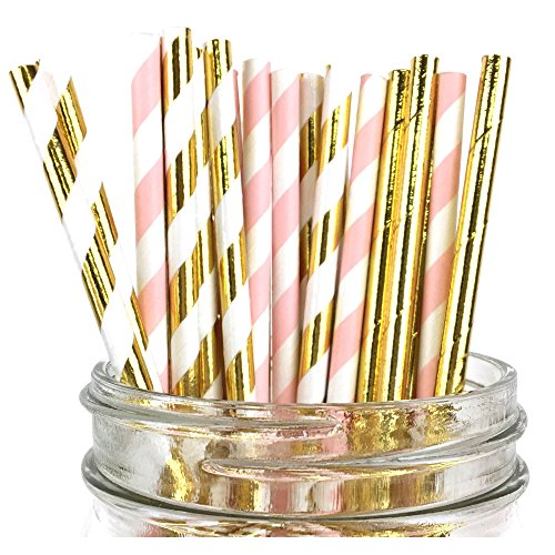Just Artifacts - Assorted Decorative Paper Straws 100pcs - Light Pink/Metallic Gold Striped w Solid Metallic Gold - Decorative Paper Straws for Birthday Parties,Baby Showers, and Life (Light Pink And Gold)
