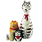 Nesting Cats - Hand Painted Wooden Nesting Dolls Matryoshka - Set of 5 Dolls From 7