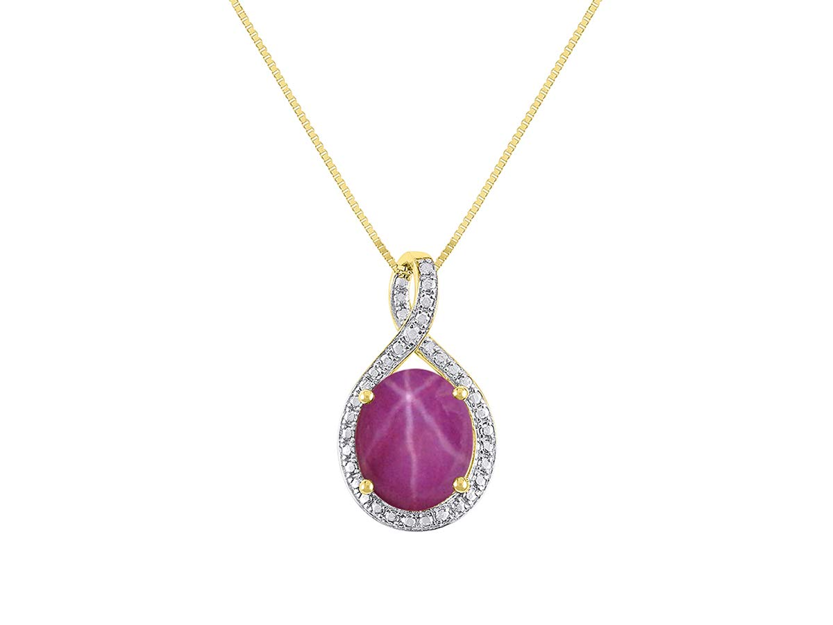 Diamond & Star Ruby Pendant Necklace in 14K Yellow Gold With 18'' Gold Chain - Birthstone 12X10 Oval Color Stone Halo Designer