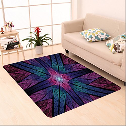 Nalahome Custom carpet al Psychedelic Colorful Sacred Symmetrical Stained Glass Figure Vibrant Artsy Design Plum Indigo area rugs for Living Dining Room Bedroom Hallway Office Carpet (5' X - Hudson Glasses Bay