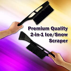Zone Tech 2-in-1 Ice Snow Brush/Scraper - Premium Quality Classic Black Sturdy Vehicle Ice Snow Scraper Windshield 2 in 1 Brush/ Scraper Super Windshield Wiper