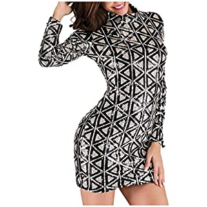 Hapae Women's Long Sleeve Paillette Dress Dancing Party Gown Sequin Slim Dress Sexy Mini Dress Cocktail Fancy Dress Ladies Prom
