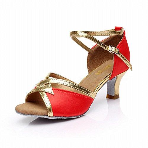 Satinado Clásico Zapatos de Social Baile Alto Cuero cm 5 Tobillo Onecolor Trenzado Fondo Talón Baile Modern de Presidente BYLE Adulto Latino Sandalias Rojo Baile Jazz Samba Blando de Zapatos de FaqnOHw