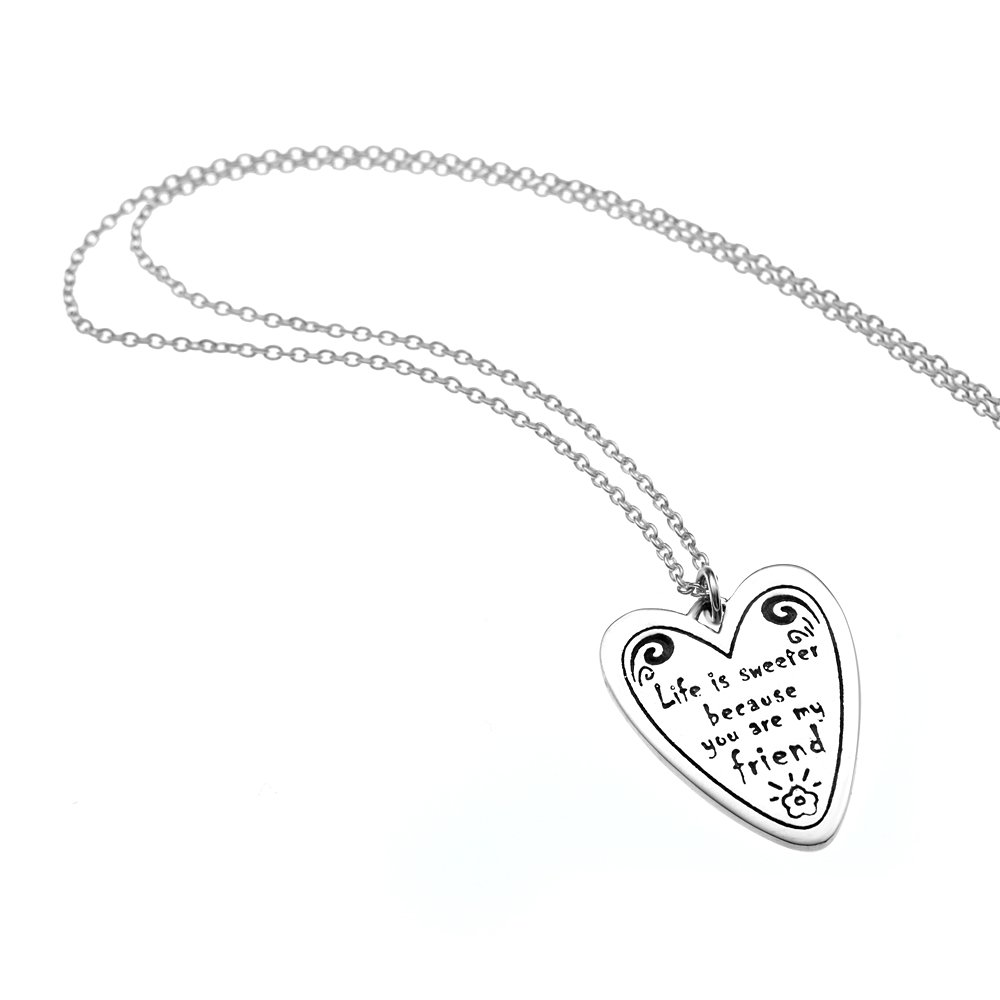 amazon 925 sterling silver life is sweeter because you are my Sweeter than Candy amazon 925 sterling silver life is sweeter because you are my friend heart pendant necklace 18 inches jewelry