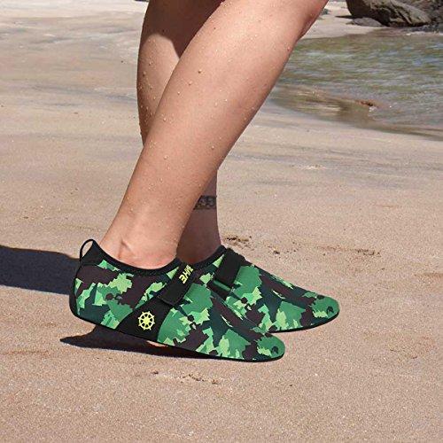 JustOneStyle NBERA Barfuß Flexible Wasserhaut Schuhe Aqua Socken für Beach Swim Surf Yoga Übung Camo
