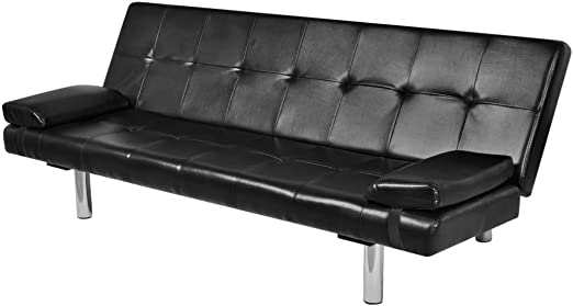 vidaXL Black Artificial Leather Convertible Sofa Bed Sleeper Futon Couch  Lounge Modern