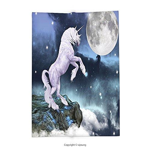 Custom printed Throw Blanket with Unicorn Legendary Creature on Up Cliffs Rocks in Full Moon Light Sky Fantasy Decor Decor Lilac Blue Super soft and Cozy Fleece (North West Halloween Unicorn)
